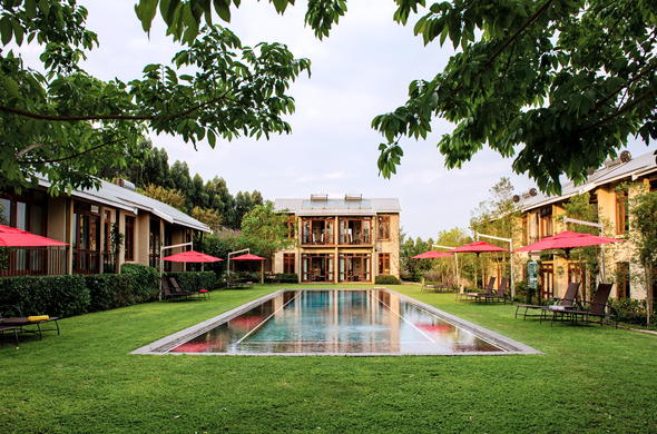 Refreshing swimming pool area at Casterbridge Hollow Boutique Hotel.