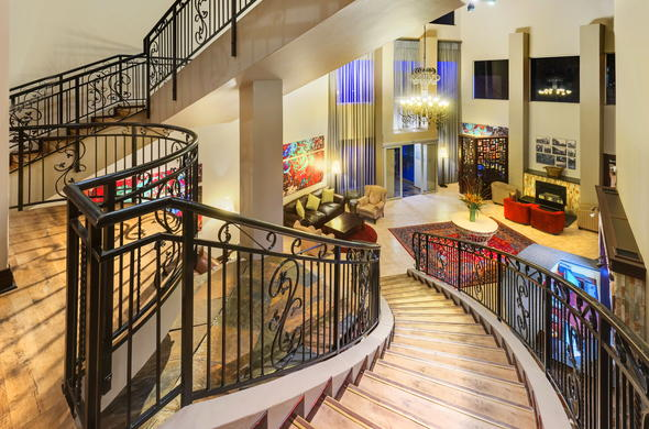 Stylish hotel entrance and staircase.